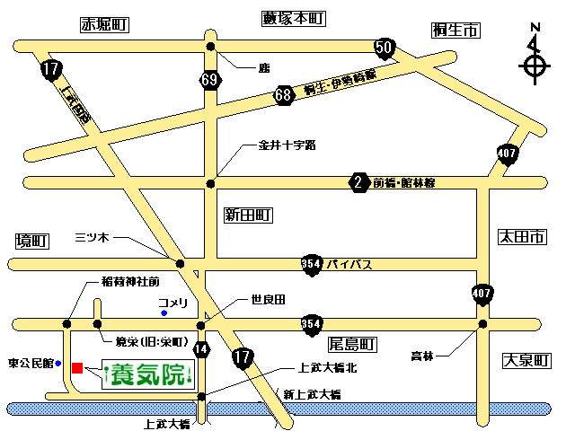 桐生・太田から鍼灸養気院へアクセスする地図