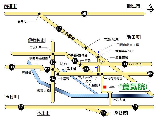 前橋・高崎・伊勢崎から鍼灸養気院へアクセスする地図