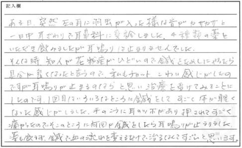 YOさんの体験談(耳鳴り)